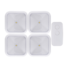 GE Battery Operated LED Puck Lights with Remote, White, 4 Pack