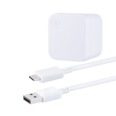 GE Pro 2-USB Wall Charging Kit with 6.5 ft. USB-C to USB Cable, White