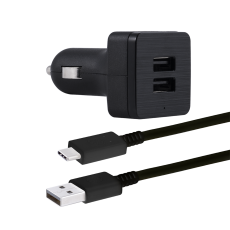 GE Pro 2-USB Car Charging Kit with 6.5 ft. USB-C to USB Cable, Black