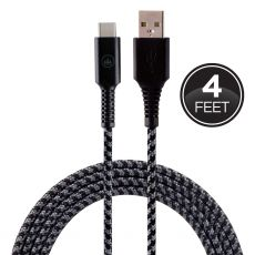 EcoSurvivor 4ft. USB-A to USB-C Charging Cable with Braided Cord, Black/Gray