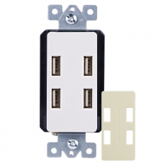 GE UltraPro 4-USB Charging In-Wall Receptacle with Changeable Faceplate, White