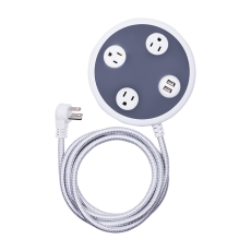 GE Pro 3-Outlet 2-USB Charging 8 ft. Braided Extension Cord with Surge Protection, Gray/White