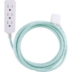 Cordinate 3-Outlet Extension Cord with Surge Protection, 10ft., Mint/White