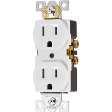GE UltraPro Grounding Duplex Heavy-Duty Receptacle, White