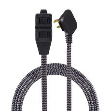 GE 3-Outlet 12 ft. Braided Extension Cord, Black/Gray
