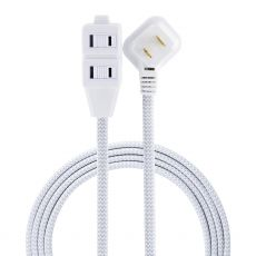 GE 3-Outlet 12 ft. Braided Extension Cord, Gray/White