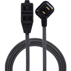 GE 3-Outlet 12ft. Braided Extension Cord with Flat Plug, Black/Gray