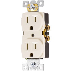 GE UltraPro Grounding Duplex Heavy-Duty Receptacle, Light Almond