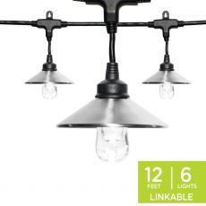 Enbrighten Light Bundle - Classic LED Cafe Lights (6 Bulbs, 12ft. Black Cord) and 6 Stainless Steel Cage Shades