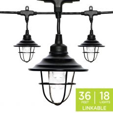 Enbrighten Light Bundle - Classic LED Cafe Lights (18 Bulbs, 36ft. Black Cord) and 18 Oil-Rubbed Bronze Cage Light Shades