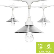 Enbrighten Light Bundle - Classic LED Cafe Lights (6 Bulbs, 12ft. White Cord) and 6 Stainless Steel Cage Shades