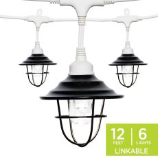 Enbrighten Light Bundle - Classic LED Cafe Lights (6 Bulbs, 12ft. White Cord) and 6 Oil-Rubbed Bronze Cage Light Shades