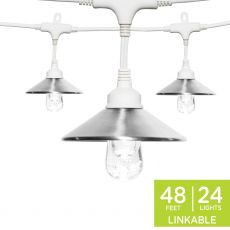 Enbrighten Light Bundle - Classic LED Cafe Lights (24 Bulbs, 48ft. White Cord) and 24 Stainless Steel Cage Shades