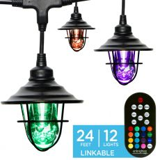 Enbrighten Light Bundle - Seasons Vintage Color-Changing LED Cafe Lights (12 Bulbs, 24ft. Black Cord) and 12 Oil-Rubbed Bronze Cage Light Shades