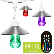Enbrighten Light Bundle - Seasons Vintage Color-Changing LED Cafe Lights (12 Bulbs, 24ft. White Cord) and 12 Stainless Steel Light Cage Shades