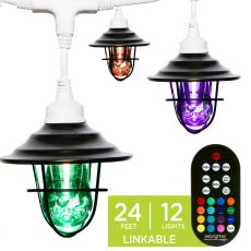 Enbrighten Light Bundle - Seasons Vintage Color-Changing LED Cafe Lights (12 Bulbs, 24ft. White Cord) and 12 Oil-Rubbed Bronze Cage Light Shades