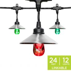 Enbrighten Light Bundle - Seasons Classic Color-Changing LED Cafe Lights (12 Bulbs, 24ft. Black Cord) and 12 Stainless Steel Cage Shades