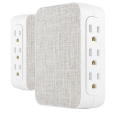 GE Pro 6-Outlet Side-Access Fabric Wall Tap with Surge Protection, White