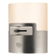 GE UltraBrite Dimmable Light Sensing LED Night Light, Brushed Nickel