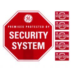 GE Security Sign with Yard Stake, Red
