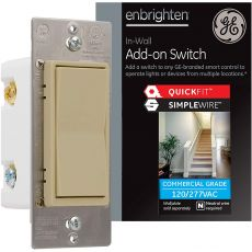 GE Enbrighten Z-Wave Add-On Switch with QuickFit and SimpleWire, Ivory
