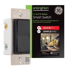 GE Enbrighten Z-Wave In-Wall Smart Switch with QuickFit™ and SimpleWire™, Black
