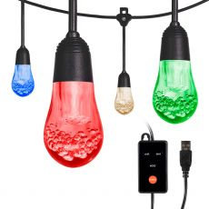 Enbrighten USB-Powered Color-Changing LED Cafe Lights, 12 Bulbs, 12ft. Black Cord