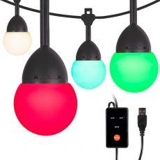 Enbrighten Bistro USB-Powered Color Changing LED Cafe Lights, 24 Bulbs, 24ft. Black Cord