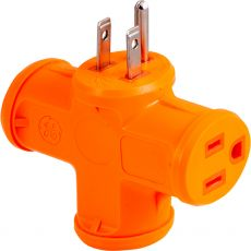 GE 3-Outlet T-Shaped Adapter, Orange