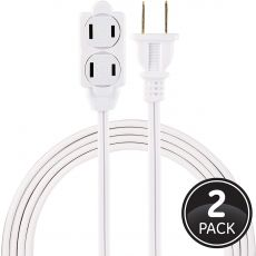 GE 3-Outlet 6ft. Extension Cord with Twist-to-Close Outlets, 2 Pack, White