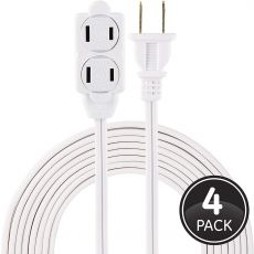 GE 3-Outlet 12ft. Extension Cord with Twist-to-Close Outlets, 4 Pack, White