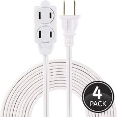 GE 3-Outlet 15ft. Extension Cord with Twist-to-Close Outlets, 4 Pack, White