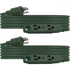 UltraPro 3-Outlet 15ft. Extension Cord, 2 Pack, Green