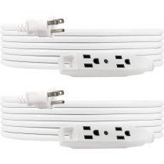 UltraPro 3-Outlet 15ft. Extension Cord, 2 Pack, White