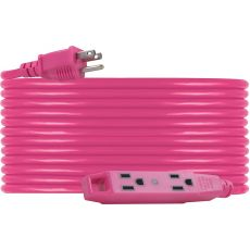 UltraPro 3-Outlet 50ft. Heavy Duty Indoor/Outdoor Extension Cord, Pink