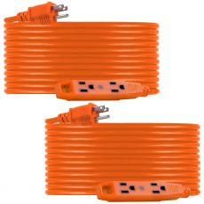 UltraPro 3-Outlet 50ft. Heavy Duty Indoor/Outdoor Extension Cord, 2 Pack, Orange