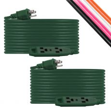 UltraPro 3-Outlet 50ft. Heavy Duty Indoor/Outdoor Extension Cord, 2 Pack, Green
