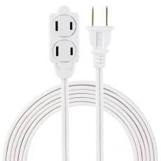 GE 3-Outlet 12ft. Extension Cord with Twist-to-Close Outlets, White