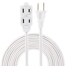 GE 3-Outlet 15ft. Extension Cord with Twist-to-Close Outlets, White