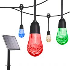 Enbrighten Solar Light Bundle - USB-Powered Color Changing LED Cafe Lights (24 Bulbs, 24ft. Black Cord) and Solar Panel Power Source