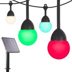 Enbrighten Solar Light Bundle - Bistro USB-Powered Color-Changing LED Cafe Lights (12 Bulbs, 12ft. Black Cord) and Solar Panel Power Source