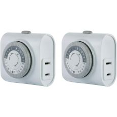 GE Indoor Plug-In 24-Hour Mechanical Timer, 2 Pack, White