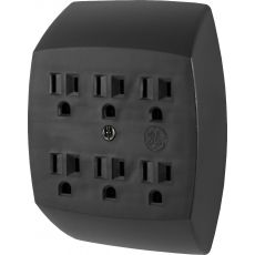 GE 6-Outlet Wall Tap, Black