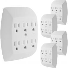 GE 6-Outlet Wall Tap, 5 Pack, White