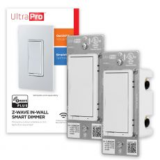 UltraPro Z-Wave In-Wall Smart Dimmer with QuickFit and SimpleWire, 2 Pack, White