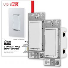 UltraPro Z-Wave Smart Dimmer with QuickFit and SimpleWire, 2 Pack, White/Almond