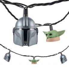 Star Wars The Mandalorian The Child and The Bounty Hunter's Helmet LED String Lights, 10 Bulbs, 10ft. White Cord