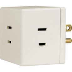 GE 3-Outlet Polarized Wall Tap, White