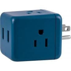 Cordinate 3-Outlet 2-USB Wall Tap with Surge Protection, Blue