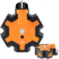 UltraPro 5-Outlet Heavy Duty Outdoor Wall Tap with Power Indicator Light and Hook, Orange